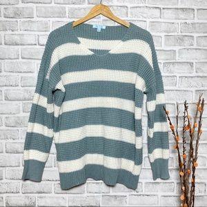 She + Sky Sage & Cream Oversized Striped Sweater L